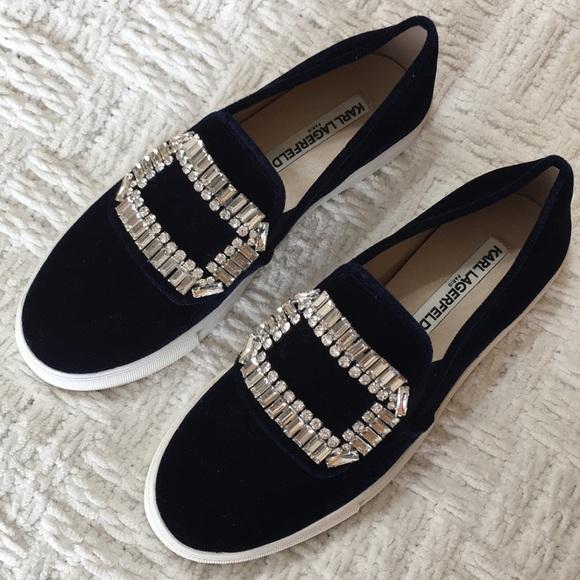 Karl Lagerfeld Paris Blue Ermine Slipon Sneaker
